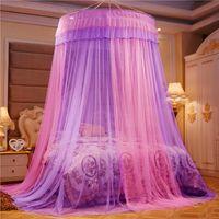 Nobile viola rosa nozze rotondo pizzo pizzo ad alta densità principessa letto reti tenda cupola regina a baldacchino zanzariera reti #sw 364 r2
