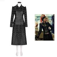 Takerlama أزياء شيطان كرويلا تأثيري للبالغين معطف الجلود تنورة أسود ضئيلة منقوشة سترة امرأة أنيقة اللباس الدعاوى ازياء