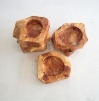 Cenicero de madera de madera soportante de ceniza marrón redondo humo cigarrillo cenicero personalizado labjetas marrón bolsillo cenicero sobre el hogar cenicero HHC6841
