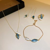 Earrings & Necklace Boho Gold Color Earring Crystal Ginkgo Biloba Double Leaves Bracelet Ring Drop For Women Jewerly Sets