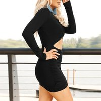 Casual Dresses Fashion Womens Long Sleeve Wrap Ruched Bodycon Dress Sexy Navel-Less Plunging Neckline Cross Slim 2021