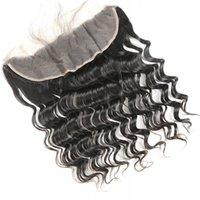 13x4 레이스 정면 폐쇄 브라질 느슨한 깊은 파도 자연 색상 버진 인간의 머리 3 중간 무료 파트 전면 Pre Plucked Hairline 130 %