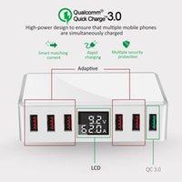 Çok Noktalar 6 USB Şarj Cihazı QC3.0 Hızlı Hızlı Seyahat Güç Adaptörü İstasyonu Dijital Ekran Cep Telefonu Şarj