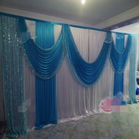 10FTX20FT Sequins Beads Edge Design ice silk Wedding Backdrop Curtain with Sequins Swags for wedding Decor Prop Backdrop Decorations
