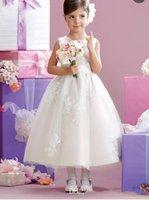 라인 보석 발목 길이 흰색 얇은 명주 그물 꽃 여자의 드레스 활 다시 도착 댄스 파티 가운 어린 소녀를위한