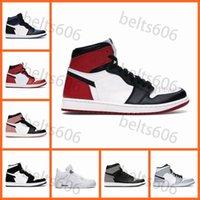 Scarpe da basket Mens Donne Jumpman 1s High OG 1 Obsidian Black Bianco Mid Smoke Fumo grigio 4S Nero Cat 4 Uomini Sneakers sportivi