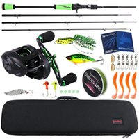 Sougayilang 4 Section M Power Carbon Fiber Rod And Baitcasting Reel Set 100M Fishing Line Lures Hooks Jig Head Combo Pesca