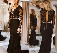 Elegant Satin Mermaid Evening Dresses Sexy Long Sleeves Backless Sweep Train Lace Applique Prom Dress With Sash Formal Party Gowns