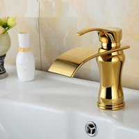 Bathroom Sink Faucets Vintage Copper Jade Basin Faucet Waterfall, European Retro Mixer Water Tap Gold Plated Wholesale