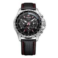 Montres Mongir Sport Mens Montres Top Hommes de quartz Montre Fashion Casual Black Pu Strap Horloge Big Double Erkek Saat 1010