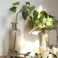 الأخضر الاصطناعي يترك كبيرة الجنكة ورقة النباتات جدار المواد الزخرفية وهمية للمنزل متجر حديقة حزب ديكور 75 سنتيمتر الزهور اكليل