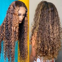 Lace Wigs 30 40 Inch Highlight Ombre Closure Front Wig Curly Human Hair Deep Wave 13x4 Transparent Frontal For Black Women