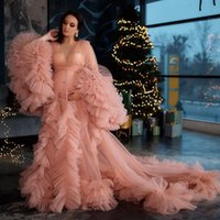 Blush Pink Pregnant Women's Prom Dress Maternity Robes for Photo Shoot or baby shower Tulle Pleat V Neck Plus Size Long Sleeve Photography Robe