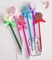 BallPoint Pennor 4PCS Creative Stationery Cute Gifts Priser Runda platt lollipop Bow Pen