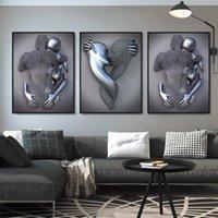 Metal Figure Statue Art Canvas Pittura Romantico Abstract Poster E Stampe P Immagini da parete Soggiorno moderno Decorazione della casa
