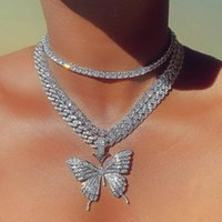 Pendant Necklaces Sparkling Iced Out Zircon Large Butterfly Necklace For Women Gold Silver Color 12mm Tennis Chain Hip Hop Jewelry