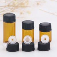 Garrafa de vidro âmbar 1ml 2ml 4ml com ponta e tampa preta Garrafas do óleo essencial dos vidros vazios