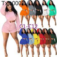 Frauen Trainingsanzüge 2 Stück Hosen Designer Outfits Solide Farbe Langarm Crop Tops Falten Shorts Jogger Anzüge Pullover Sportswear 27 Arten