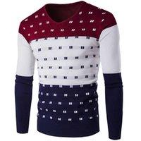 2021 Весна и осень Тонкая V-образная выречка Мужская одежда Базовая Рубашка Пуловер Свитер Цвет Соответствующая Мужская Футболка