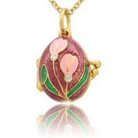 Suitable for European luxury brands Russian egg enamel flower crystal pendant necklace Easter gifts