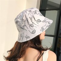 보닛 블랙 양동이 모자 여성 여름 개구리 격자 무늬 디자이너 패션 숙 녀 모자 바위 종이 가위 만화 모자 와이드 레 드