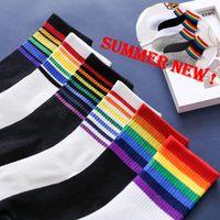 Fashion Socks Cotton Rainbow Stripes Christmas Gift Classic Warm Casual Tide Harajuku Funny Cute Pop Korean Socks For Women