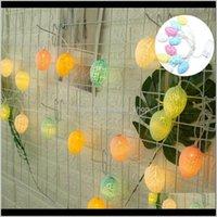 LED Hollow Ovo Forma Luz Plástico Crack Decorativo Padrão de Ovo de Ovo de Ovo Easter Easter Estival Strance String Lâmpadas Celebração Nenhuma bateria 6crqc