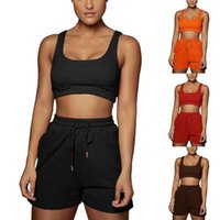 Yoga Outfit Casual Solid Sportswear Two Piece Sets Women 2021 Crop Top And Drawstring Shorts Matching Set Summer Athleisure Outfits