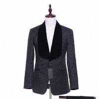 Yeni Erkek Casual Blazers Ceket Siyah Kadife Çiçek Desen Blazer Düğün Palto Damat Smokin 1 Parça Suit Ceket Olarak Erkek Giyim Y9B7 #