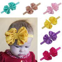 Bebé de gasa para niños para niñas Horquillas de moda para niños Accesorios para el cabello Boutique Niños Hairbands Elástico Big Bowknot Headwear