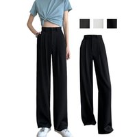 Women's Pants & Capris Black Suit Woman High Waist Sashes Pockets Office Ladies Fashion Grey WhiteHigh Drape And Thin Wide-leg Pant