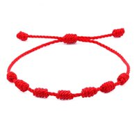 Amor hecho a mano 7 KNOT Pulseras Lucky Pulseras Ajustable Marrón Rojo Ajustable Ajustable Pulsera para Hombres Mujeres Amistad Joyería