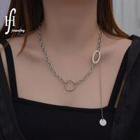 Korean Style Tassel Round Necklace Steel Versatile Splicing Ring Link Buckle Bone Chain Niche Design Accessories WYCJ57