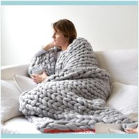 Textiles Home & Gardenwool Knitted Winter Thick Yarn Bulky Knitting Blankets Handmade Large Big Sofa Bed Blanket 120*150Cm Drop Delivery 202