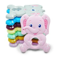 Food Grade Baby Silicone Teether BPA Free Cute Elephant Animal Shape Cartoon Teething Rodents DIY Jewelry Pacifier Nursing Infant Toy