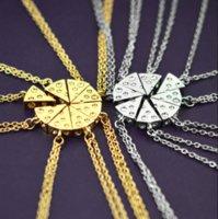 Pizza-Käse Anhänger Halsketten Gold Silber Freundschaft Halskette Beste Freunde Für immer Andenken Geburtstagsgeschenk-P