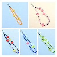 Ins mobile phone chain European and American personality Festive color acrylic rainbow bead mobile phone lanyard female Pendant T2I52784