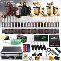 Tattoo Kit 4 Machines Guns 40 Color Inks Voeding Naalden Grepen Tips Carry Case D139GD-16