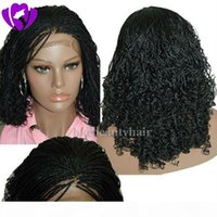 Bob Synthetic Box Braided Lace Front Wigs Glueless short braided Lace Wigs with Baby Hair Natural HairLine for Black Women Half Hand Tied