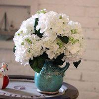 Декоративные цветы венки 1Букет 5 шт. 8 см Голова Искусственная гортензия шелковый цветок DIY Свадебная арка Свадебная рука Главная Центральный декор Флор