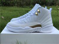 2021 Аутентичные 12 ОВО Ящик Zapatos Man Basketball Оригинал Волокна Металлические 12s Реальные Углеродные Золотые Белые кроссовки Обувь с спортом Оу Джаль