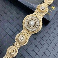 Marokkanische montel caftan hochzeit gold silber farbe metallgürtel für frauen kristall taille kette körper schmuck