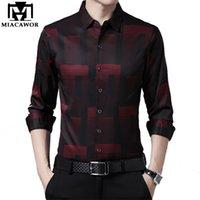 Neue Original Männer Shirts Seide Baumwolle Frühling Herbst Langarm Hemd Männer Casual Plaid Hemden Slim Fit Camisa Masculina C688 210323