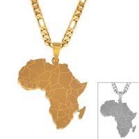 Anniyo الهيب هوب نمط أفريقيا خريطة قلادة القلائد لون الذهب والمجوهرات للنساء الرجال الخرائط الأفريقية مجوهرات الهدايا # 043821