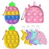 Push It Keychain Fidget Pendentif Toys Simple Dimple Ananas Unicorn Mini Push Push Bubble Figret Antistatess Jouet Enfants Dernier jeu