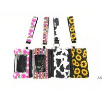 Printed Sunflower Leopard Cow Flower MultiFunction Neoprene Passport Cover ID Card Holder Wristlets Clutch Coin Wallet With Keychain DWA5389