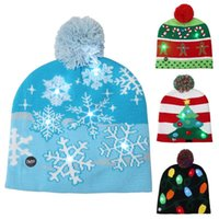 Christmas Decorations 2021 Winter Elastic Sweater Knitted Beanie LED Light Warm Hat Cap Snowflake Crutch Pompom Kid Gift Year Decoration