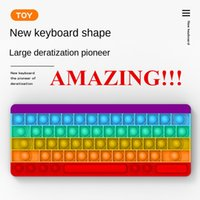 Incrível!!! Fidget Brinquedos Reliver Reliver Stress Presentes Teclado Forma Rainbow Empurre It Bubble Antistress Toy Sensory Office Script Squeeze Jogo Fast frete