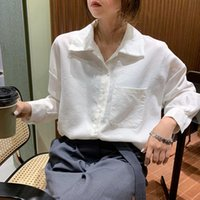 Colors 2021 Spring Solid Color Cotton Shirt Casual Long Sleeve Blouses Turn Down Collar Womens Tops And Blouse (F3913) Women's & Shirts
