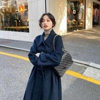 Women's Wool & Blends EWQ Double-side Soft 2021 Winter Autumn Single-breasted Adjustable Waist Long Black Blue Woolen Coat For Female Fashio